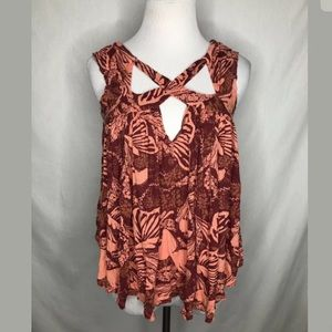 Free People Womens Size Small Red Pink Flowy Top